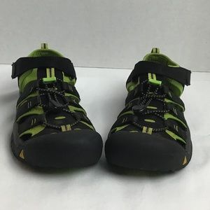 Keen black/green waterproof trail sandals. 6